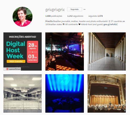 Instagram dos anfitriões da comunidade