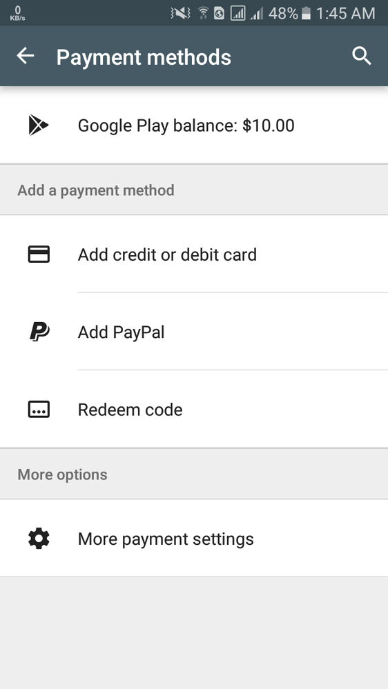 Is Google Play gift card an option for payment?