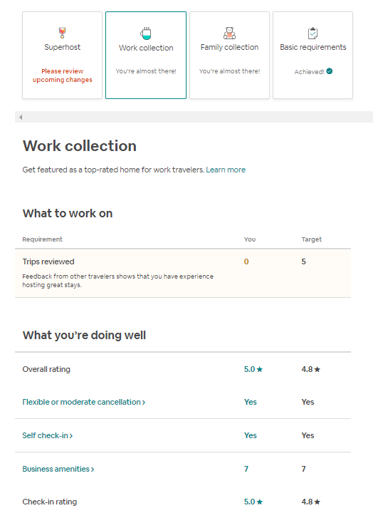 Trips Reviewed for my work collection, superhost, and family collection is at zero but I have 31