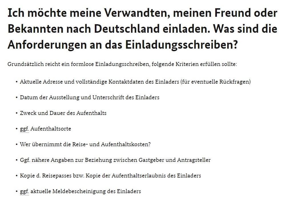 Einladung für visum nach deutschland aus ukraine