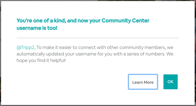 New, unique Community Center usernames