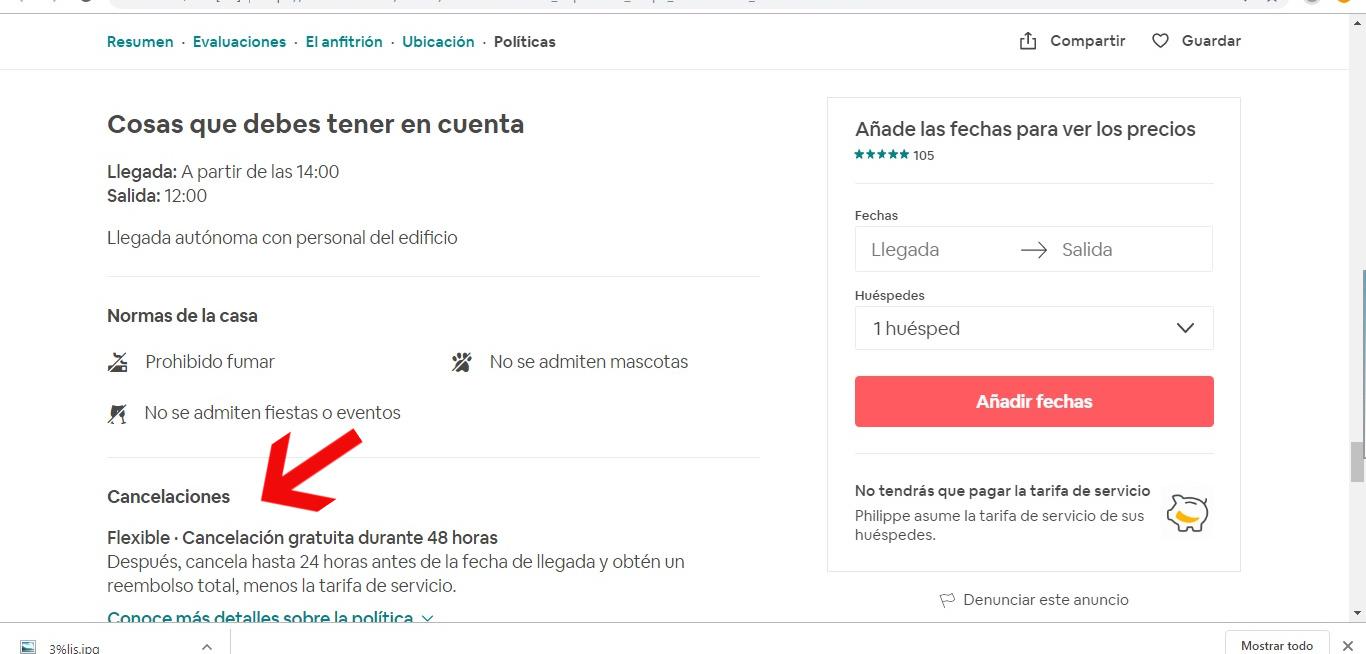 Sugerencia a Airbnb sobre filtros en Tipo de Cance... - Airbnb ...