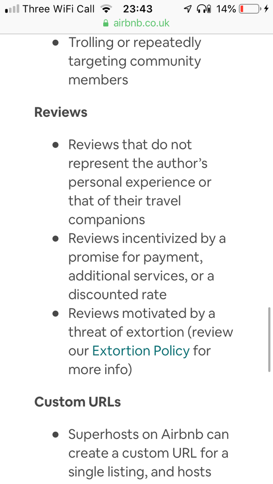 Review policy extracted from the Airbnb website.