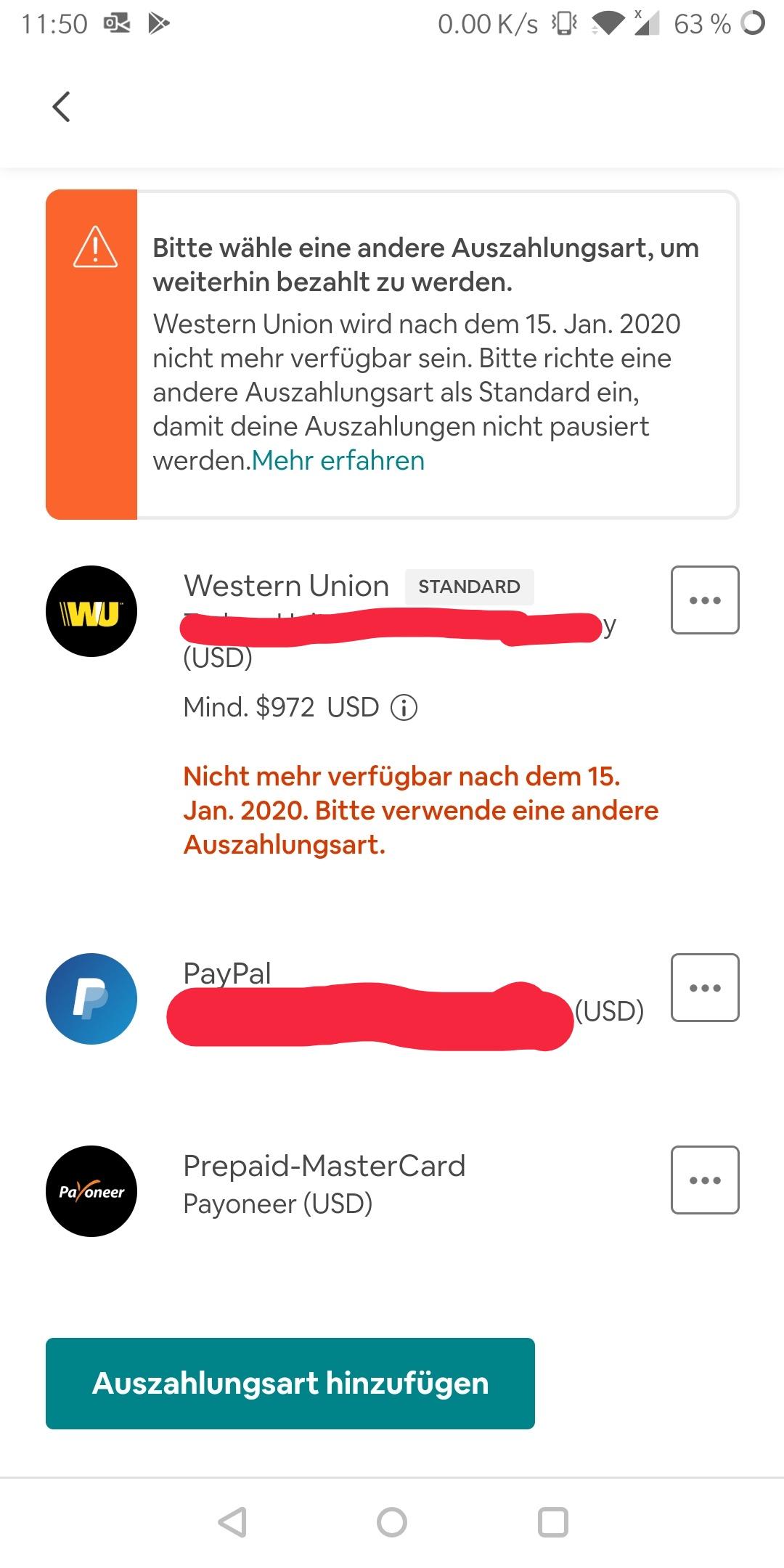 Auszahlung Western Union