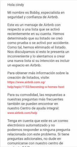 New listing continuously removed by Airbnb as an accidental listing