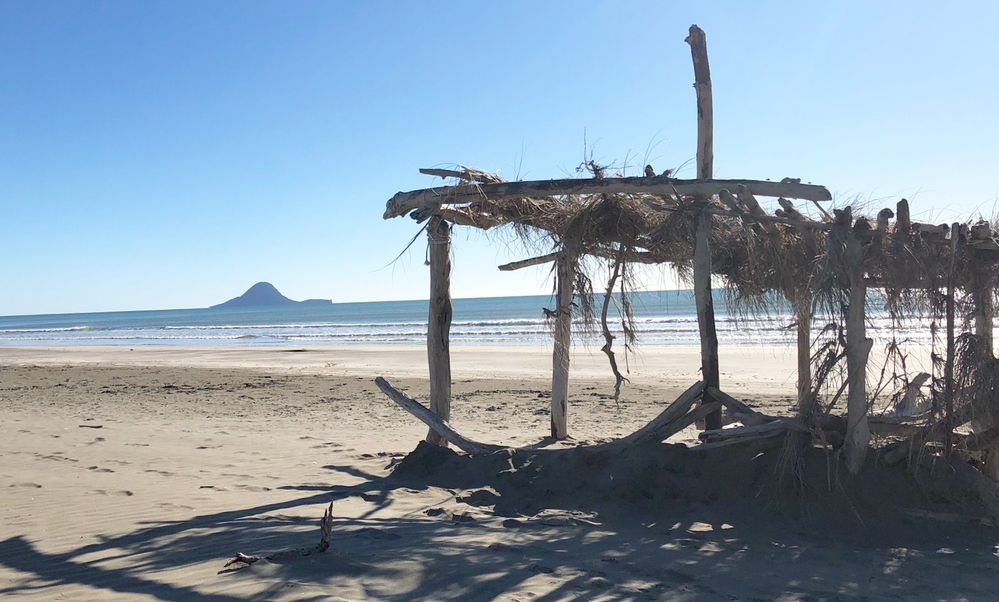 Sun shelter made from driftwood