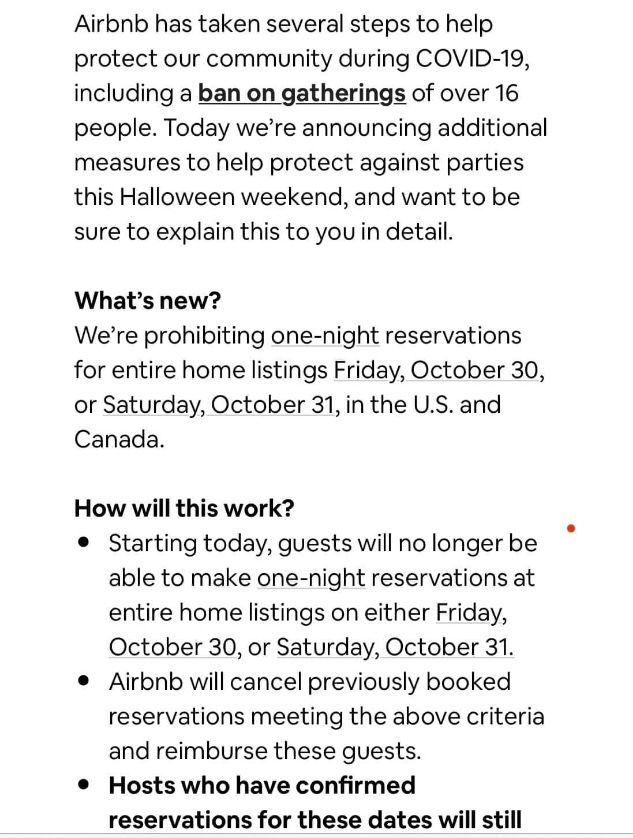 Ban on one night bookings Halloween