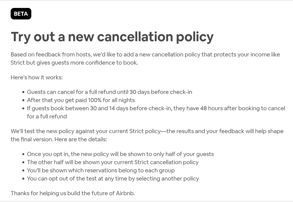 Testing a new cancellation policy