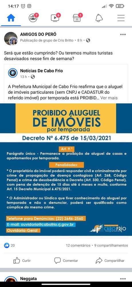 Proibido Aluguel de Imóveis - Cabo Frio - RJ. -Decreto 6.475 de 15/03/2021