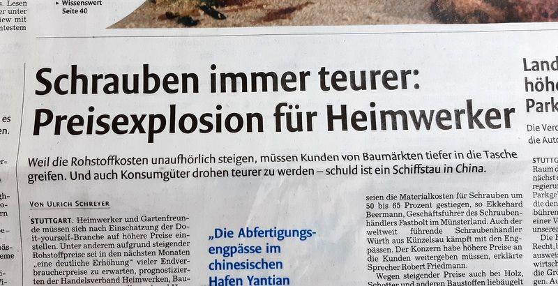 Titelseite der Stuttgarter Nachrichten vom 3.7.2021