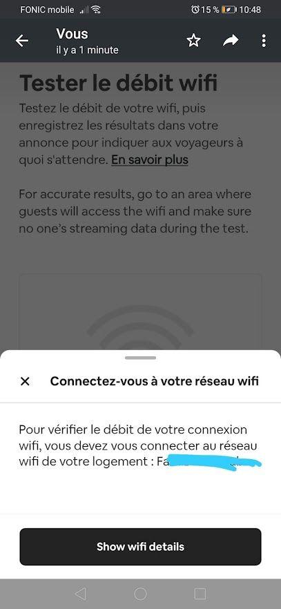 BUG : suppression des informations concernant la vitesse du wifi pour votre annonce