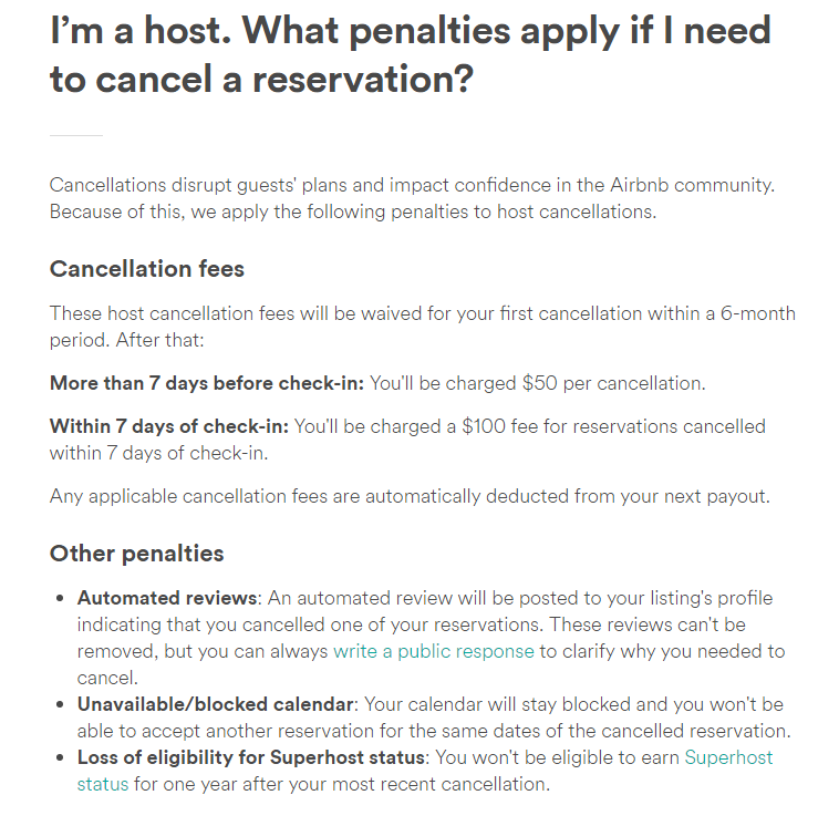 Long term cancellation policy for hosts - Airbnb Community