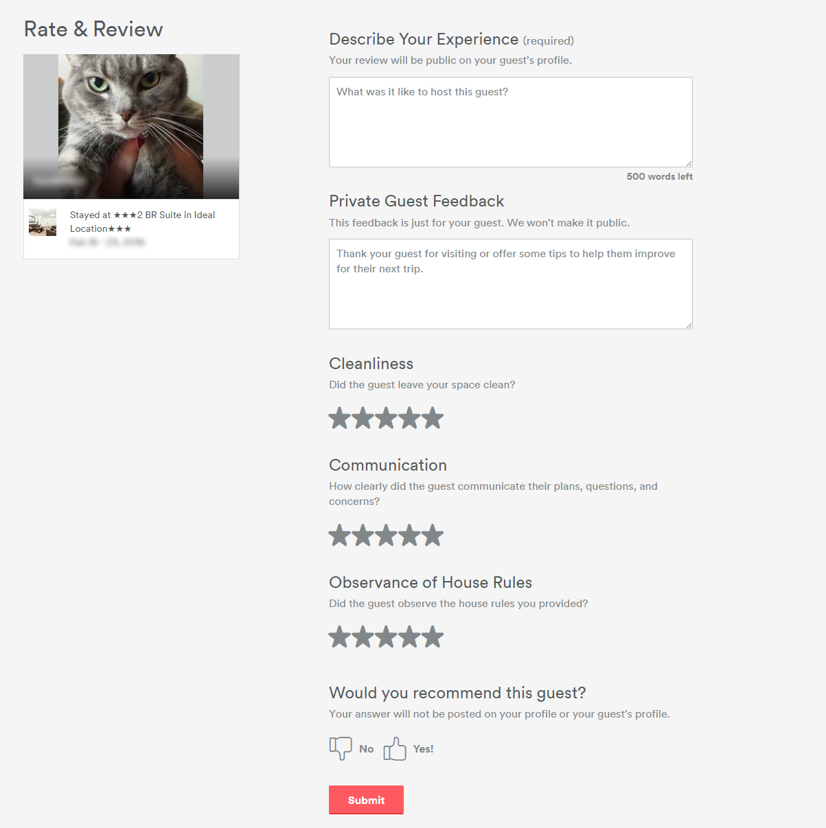 all about reviews a community help guide airbnb community after you submit your review you will be taken to a page to provide private feedback to airbnb enter feedback if you wish and then click submit