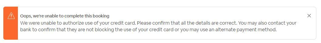 Solved: airbnb will not accept our payment - Airbnb Community