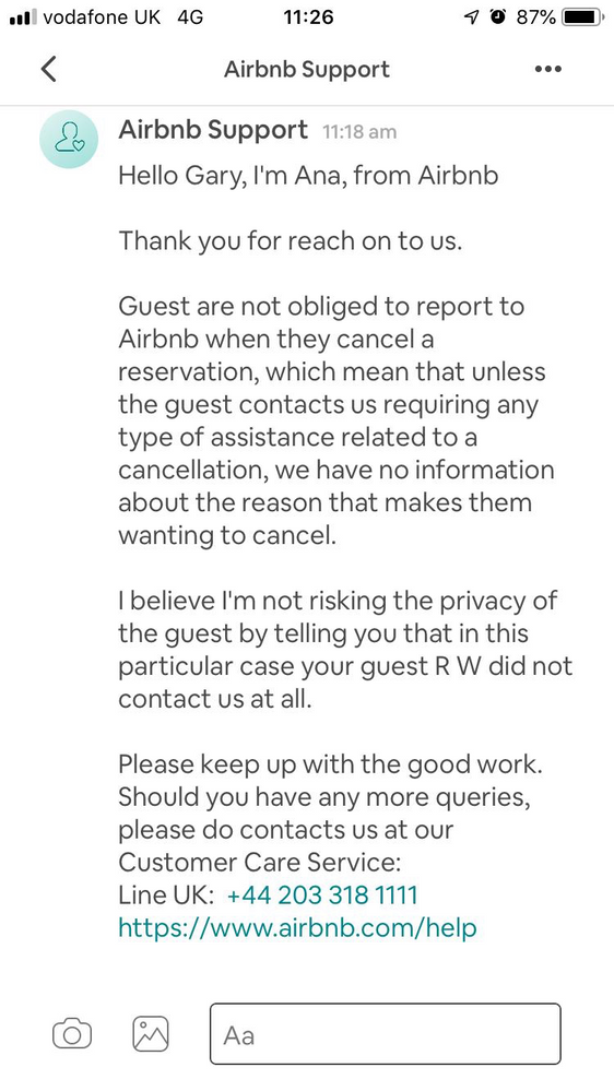Why has my guest cancelled his reservation after c
