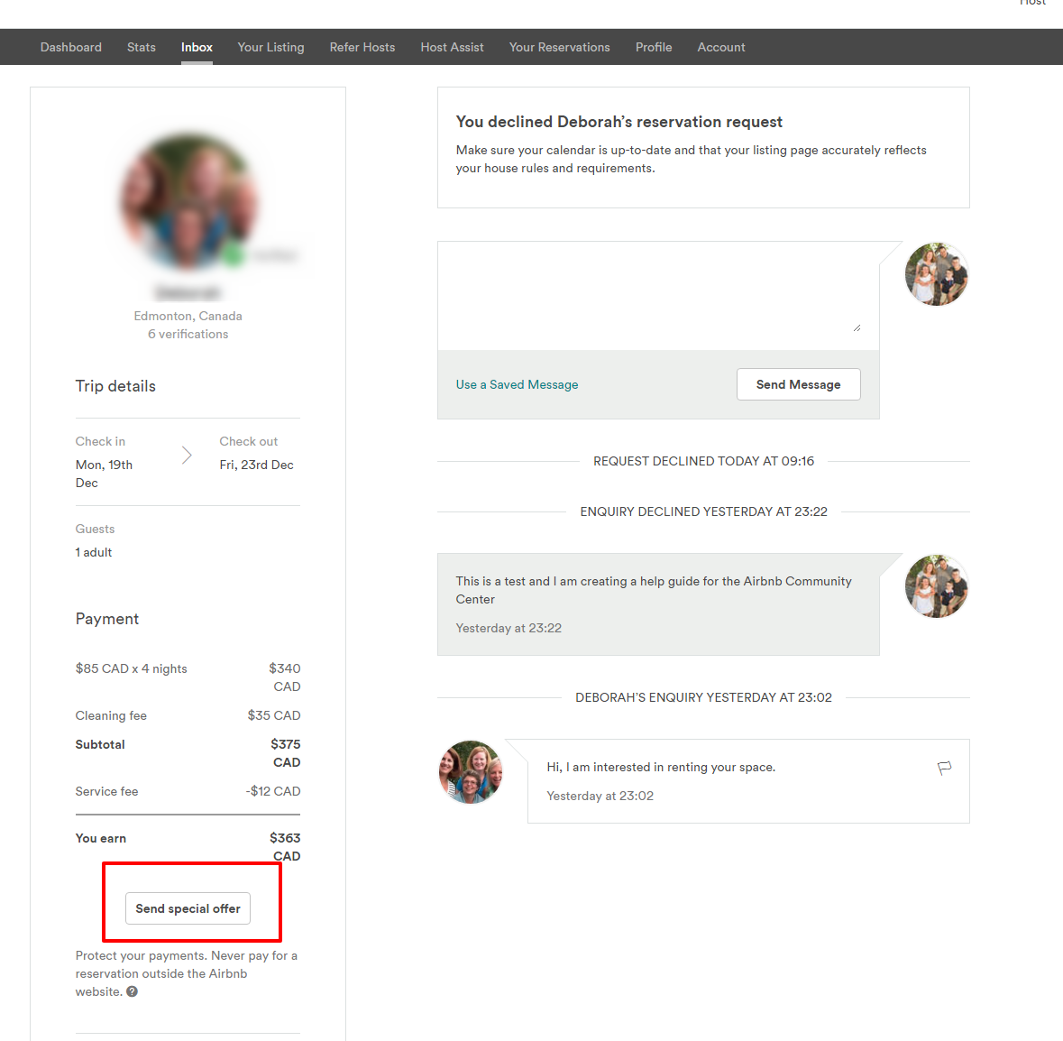special offers a community help guide airbnb community step five you will now be at the special offer screen where you can a change the listing if you are offering the guest a different listing b change the