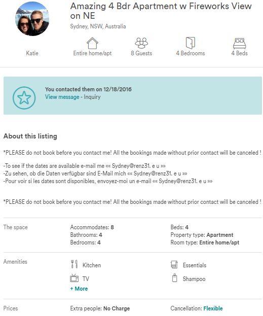 Fake Listing In Sydney Australia Airbnb Community